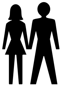 Man and woman icons holding hands