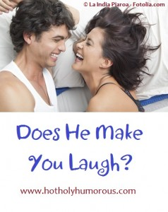 Couple laughing in bedroom -- with blog post title