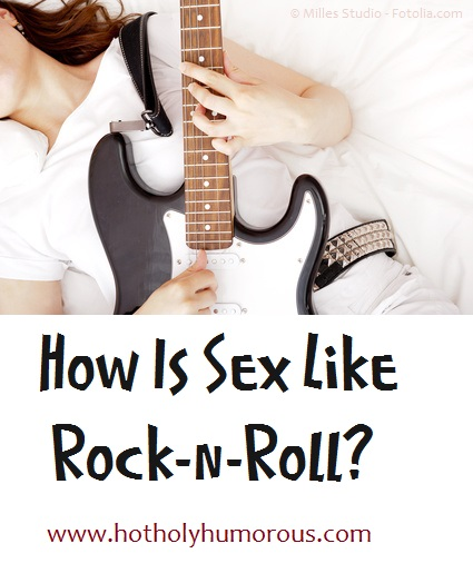 Woman playing electric guitar + blog post title