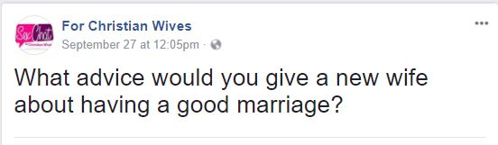 "Image with ""What advice would you give a new wife about having a good marriage?"""