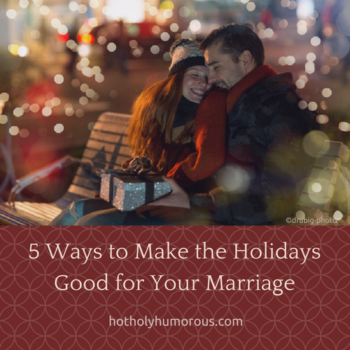 Blog post title + couple in winter clothes sitting on park bench with a present