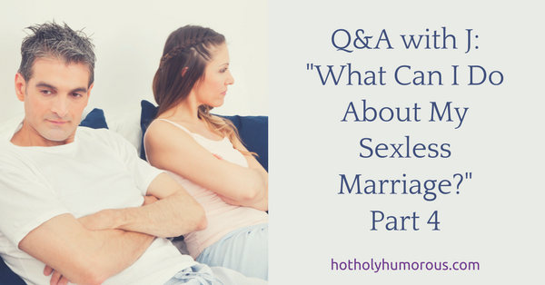 Blog post title + couple in bed, turned away from each other