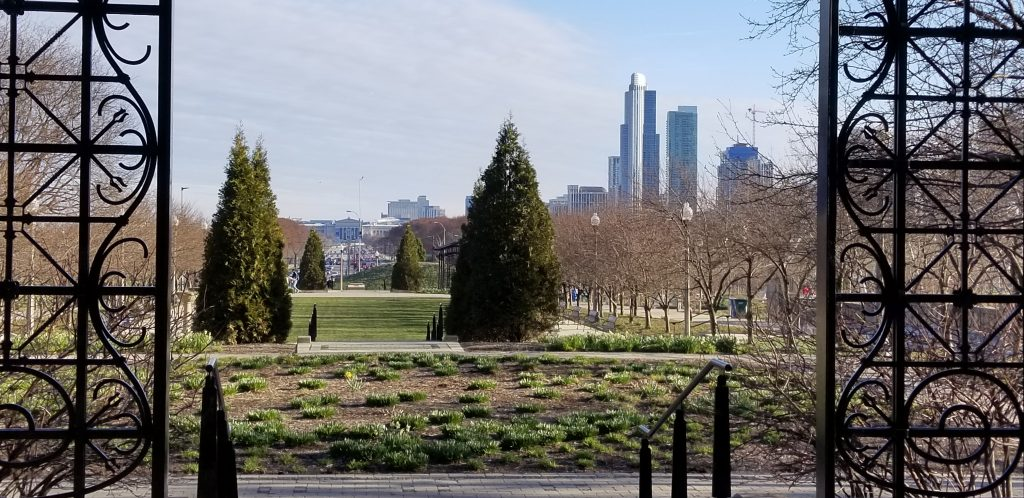View of park and Chicago skyline from Maggie Daley Park